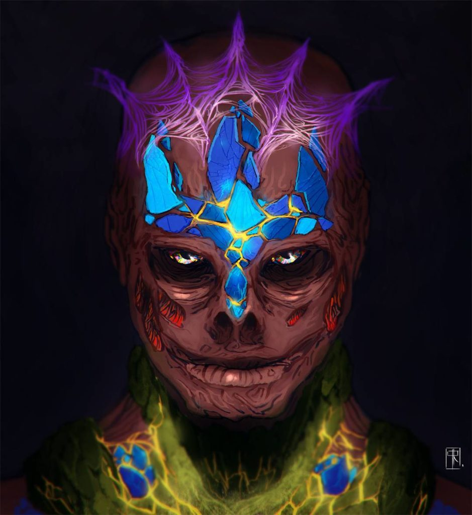 A man's burned head with pieces of blue, red, yellow, and superviolet luxin infused in the scars