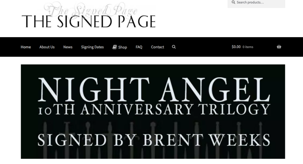 The Signed Page, Night Angel, Brent Weeks