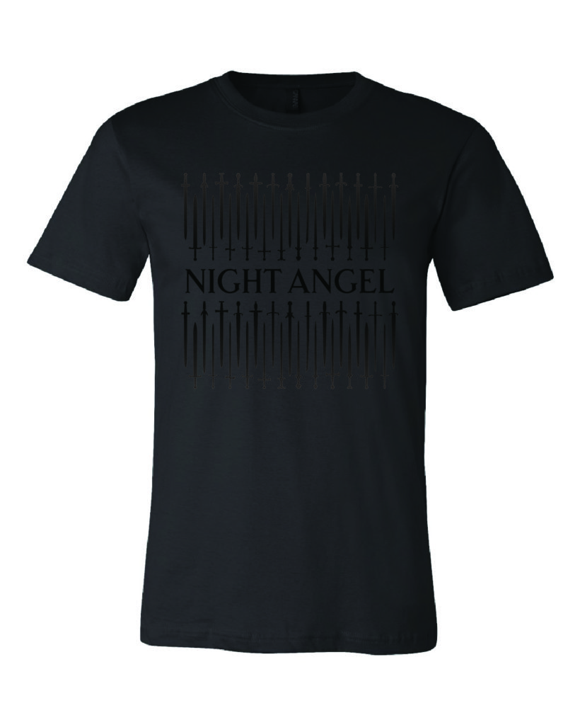 black-on-black Night Angel 10th Anniversary shirt