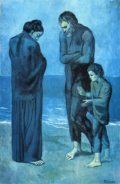 "Picasso's ""The Tragedy,"" from his Blue Period (1900-1904)."